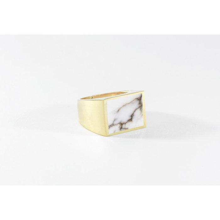 Legier Brass Stone Signet Ring White Turquoise