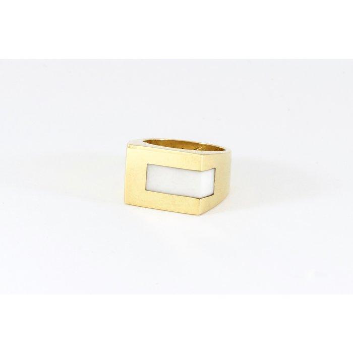 Legier Brass Strip Stone Signet Ring - White Turquoise Size 8