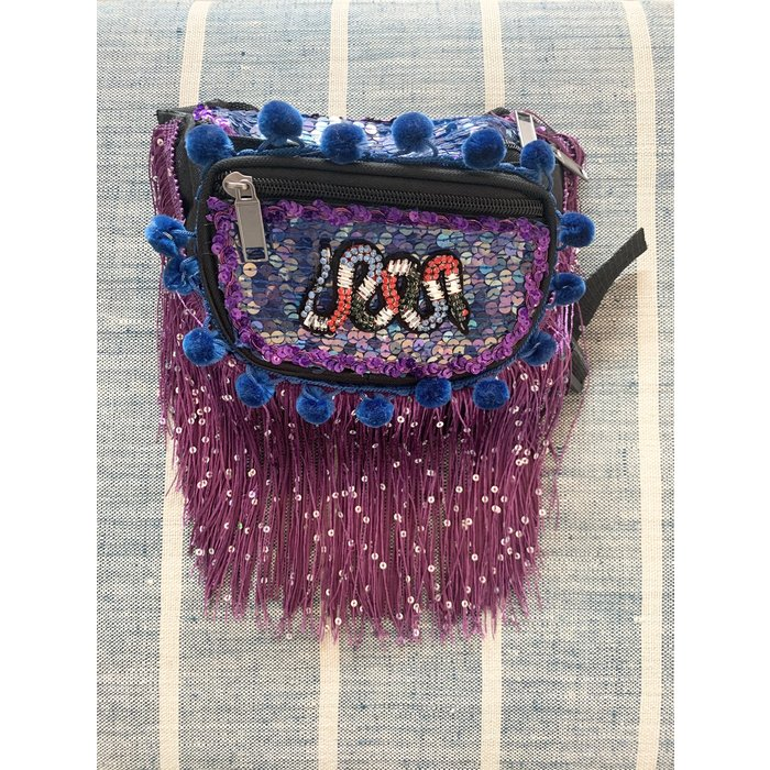 Kate McNee Fringe Fanny Pack -  Purple/Blue Snake