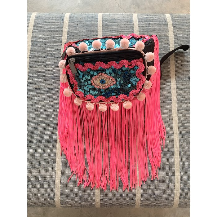 Kate McNee Fringe Fanny Pack -  Hot Pink Eye