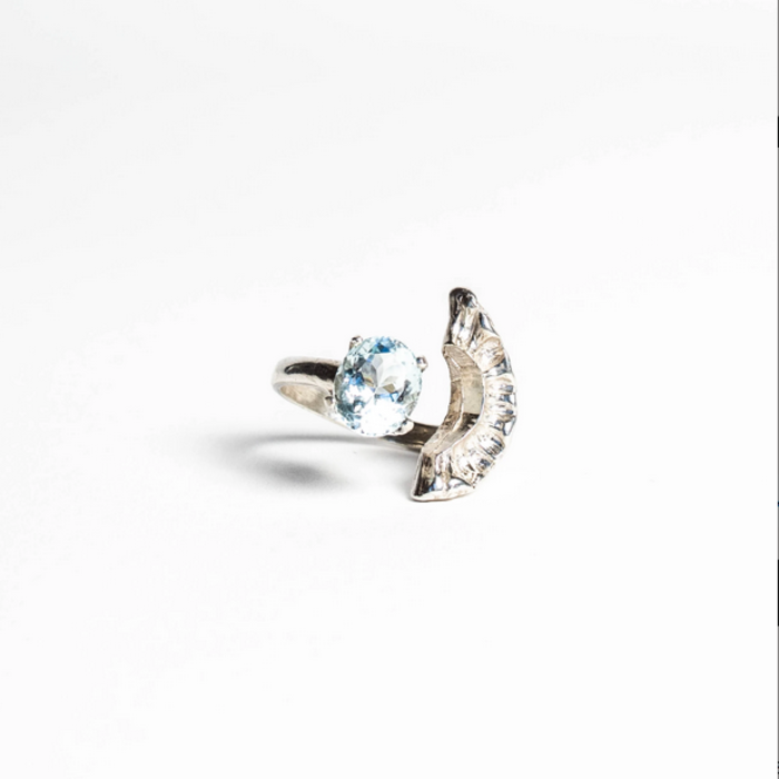 Saint Claude Demi Lune Ring - Silver with Aquamarine