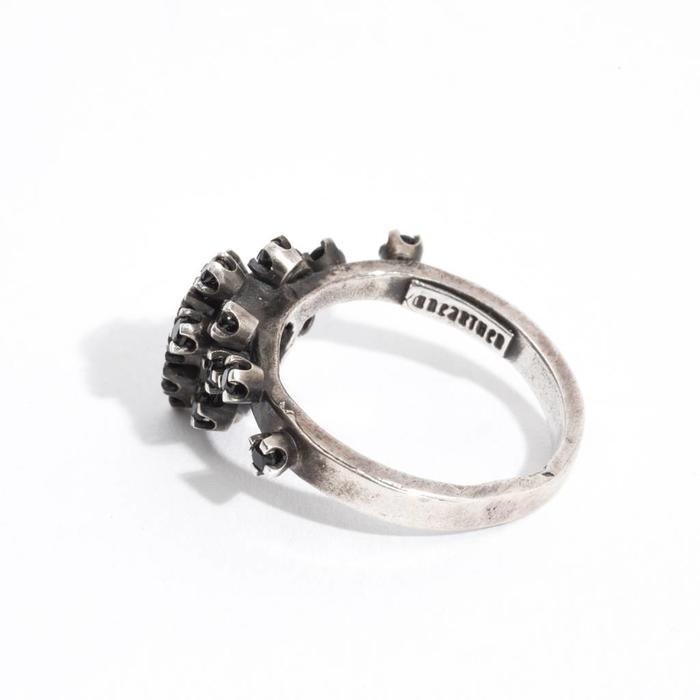 Unearthen-  anthem ring black spinel with silver