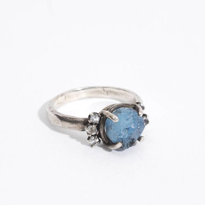 Unearthen-  Bridge ring blue geode with sapphires and silver band