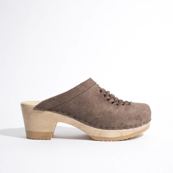 No. 6 Heidi Woven Light Grey Suede Clog