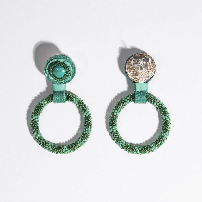 Small Beaded Hoop Earrings - Malachite