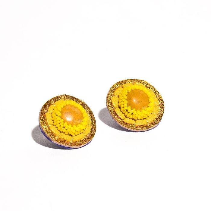 Robin Mollicone Yellow Jasper Stud Earrings