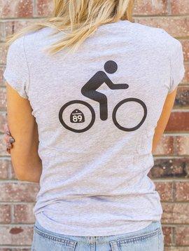 California 89 Women's Short Sleeve T-Shirt Shield on Front Bike on Back