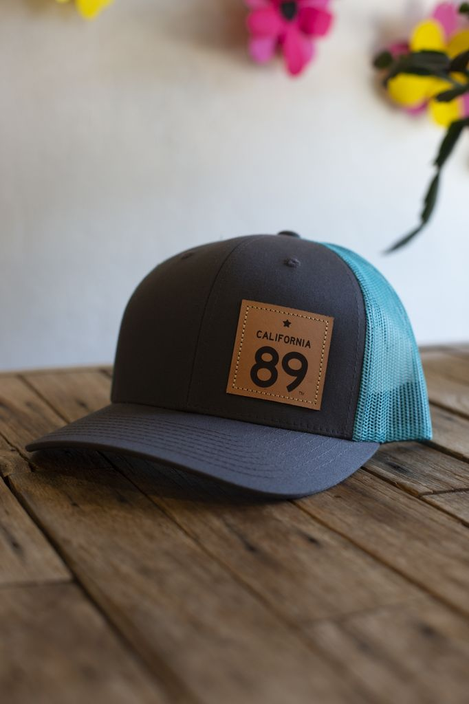 California 89 Charcoal and Teal  Capteur Snapback Hat