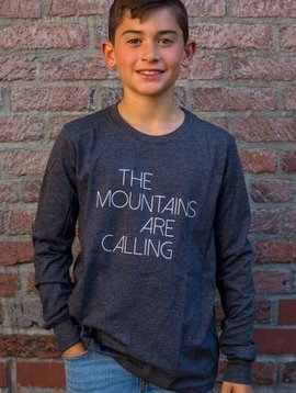 California 89 Kid's long sleeve tshirt, Mtns are calling front, Mtns back