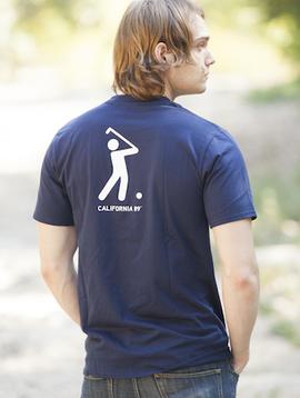 California 89 Men's T-Shirt Shield on Front Golfer on Back