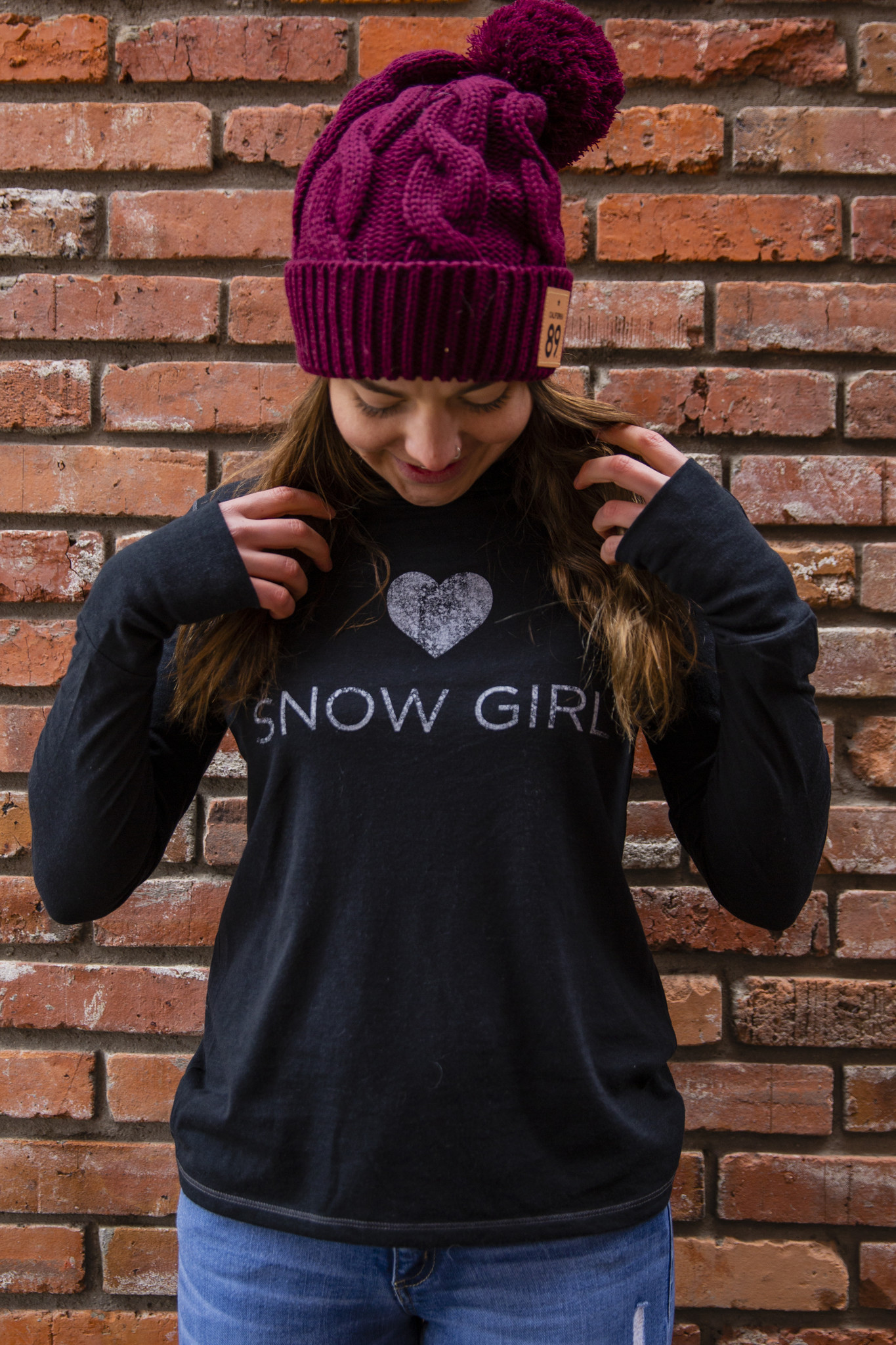 California 89 Snow Girl Long Sleeve Hooded Tee
