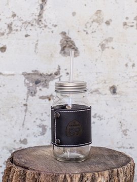 California 89 Mason jar with leather wrap