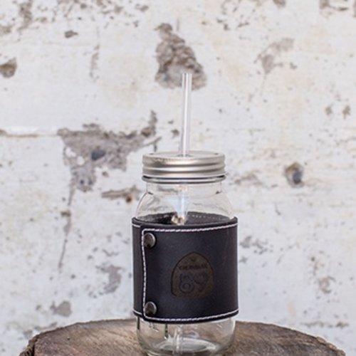 Glasses Mason Jar with Leather Wrap