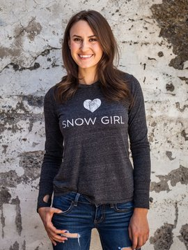Women's shirts Women's Long Sleeve Snowgirl Hooded Shirt