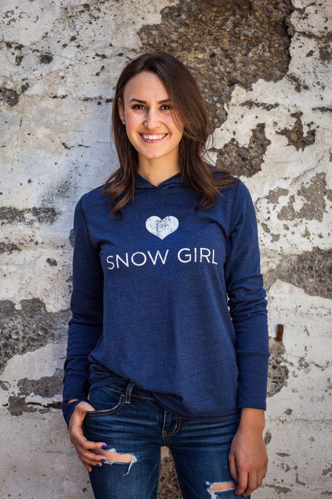 Women's shirts Snow Girl Long Sleeve Hooded Tee