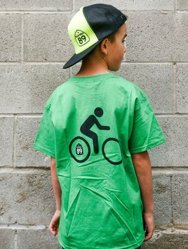 California 89 Kid's T-Shirt Shield on Front Bike on Back