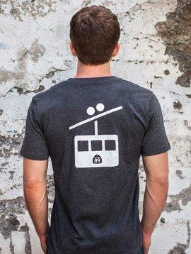 Men's Tshirt Men's V-Neck T-Shirt Shield on Front Gondola on Back