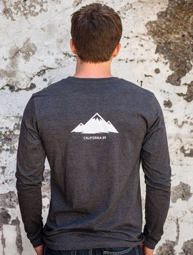 California 89 Men's Long Sleeve Tshirt Shield Front, Mountain Back