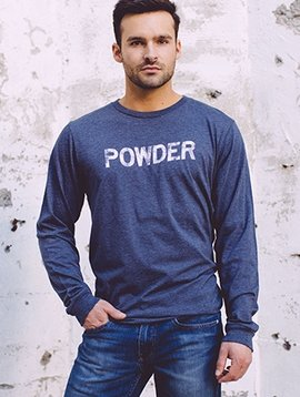 California 89 Men's Long Sleeve Tshirt, POWDER Front, Gondola Back