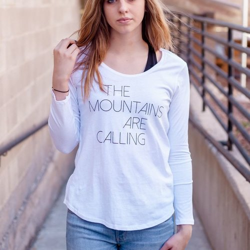 Women's T-Shirts Mountains Are Calling Long Sleeve Women's Tee