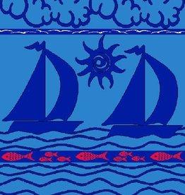 Sailboats Blue - Sheared Jacquard Beach Towel