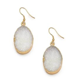 Matr Boomie White Rishima Druzy Drop Earrings