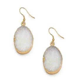 Matr Boomie White Rishima Druzy Drop Earrings