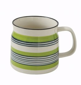 Creative Co-op Stoneware Mug, Green & Black Stripe
