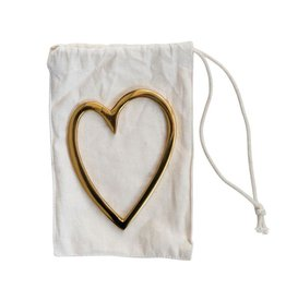 "Creative Co-op 3""L x 4""H Brass Heart in Drawstring Bag"