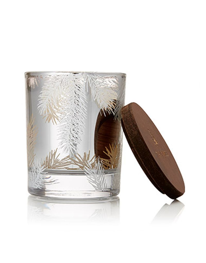 Thymes Frasier Fir Candle, Small Pine Needles on Silver Glass