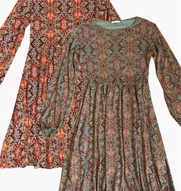 Plume & Thread Crew Neck Flowy Dress L/S
