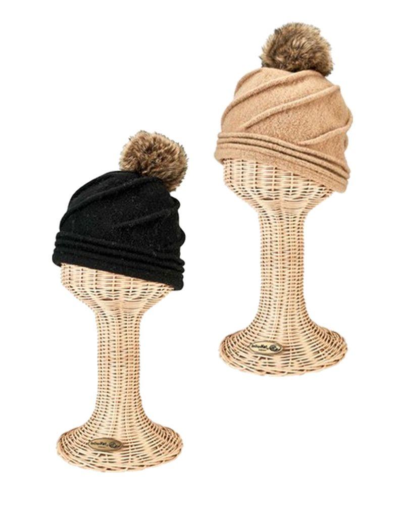 San Diego Hat Molded Beanie w/ Faux Fur Pom