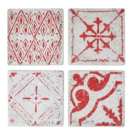 "Creative Co-op 4"" Square Cement Tile Coasters, Red, Set of 4"