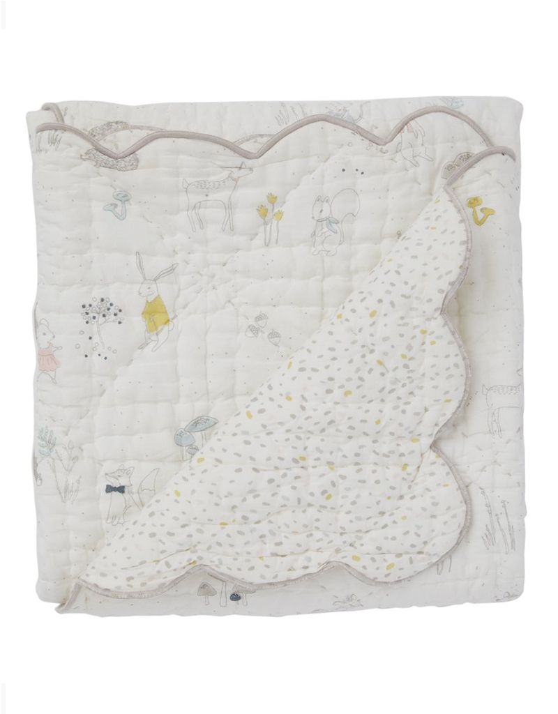 Pehr Magical Forest Scalloped Quilted Blanket