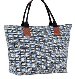 rockflowerpaper Hana Navy Zipper Top Carryall Tote Bag