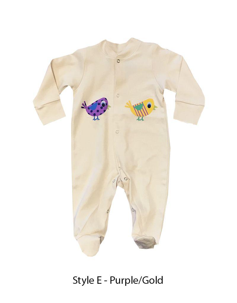 Lou & Dejlig Footies suit w Birdie Nat. Org Cotton