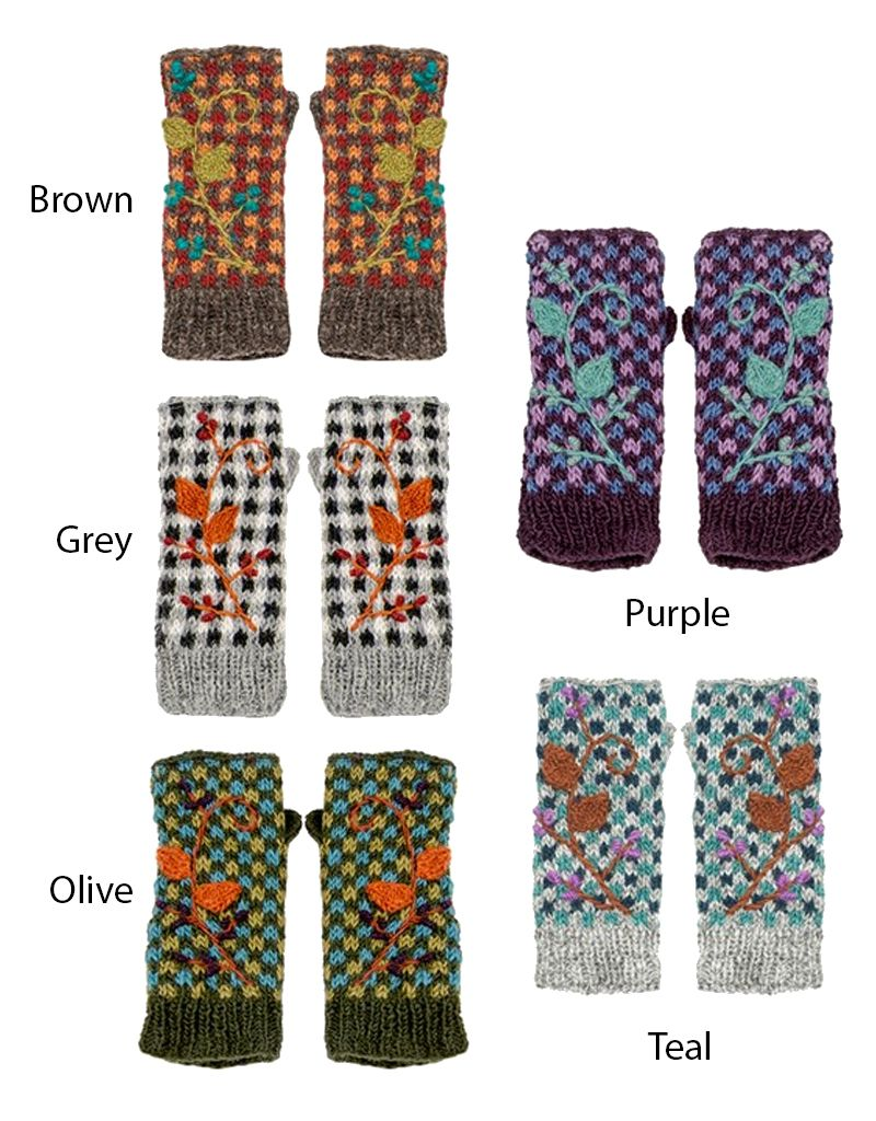 Floral Checkerboard Fingerless Gloves - Maria Luisa Boutique