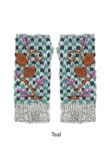 Rising Tide Floral Checkerboard Fingerless Gloves
