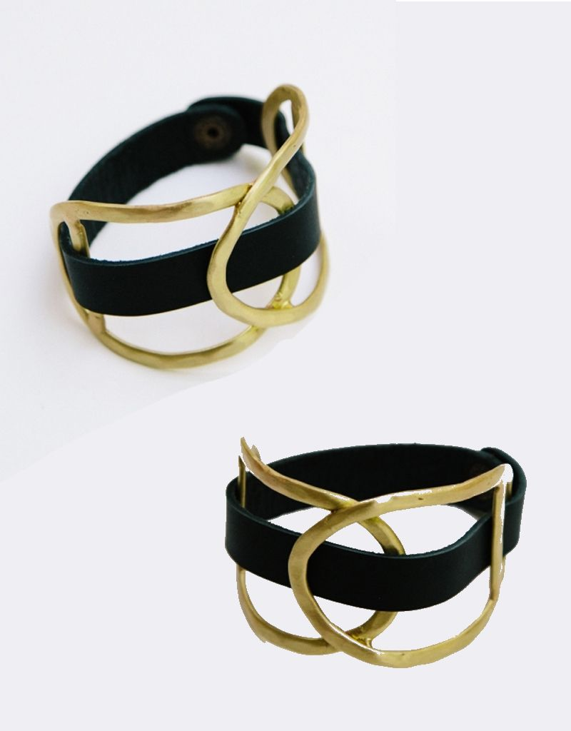 Mata Traders Leather/Gold  Wrap Cuff