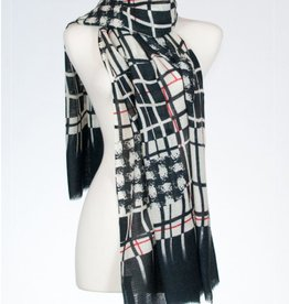 Banaris Abstract Window Print Merino/Silk Stole