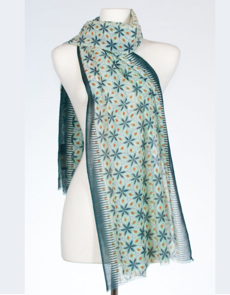 Banaris Star Lily Print Merino/Silk Stole