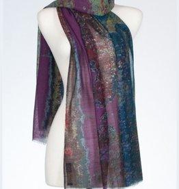 Banaris Ganges Estuary Print Merino/Silk Stole
