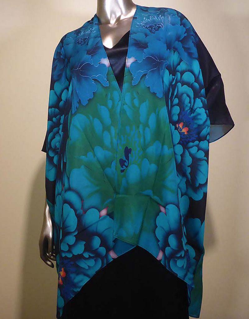 Cocoon House Silk Long Kimono-Blue Peony