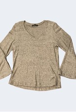 Nally & Millie Brushed V-Neck Bell-Sleeve Top