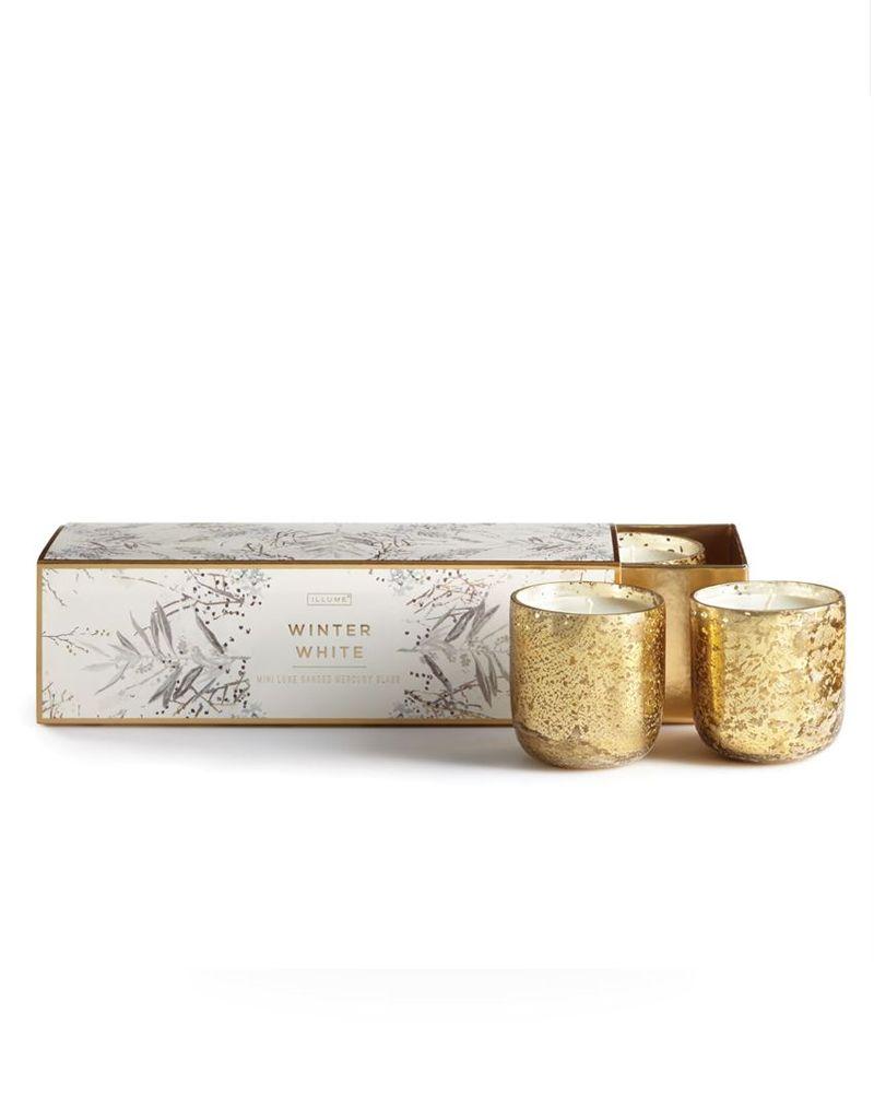 Illume Winter White Mini 3-Piece Mercury Candle Set