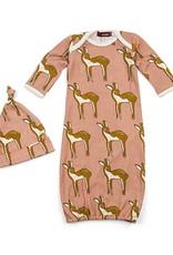 Milkbarn Newborn Gown & Hat Set