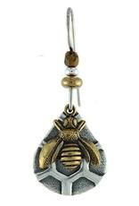 Earth Dreams Bronze Bee on Silver Comb Earrings