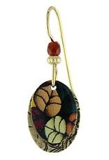 Earth Dreams Painted Falling Leaves on Brass Oval Earrings