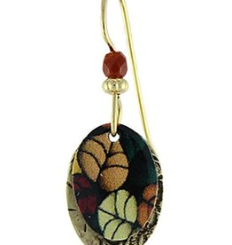 Earth Dreams Painted Falling Leaves on Brass Oval Earrings