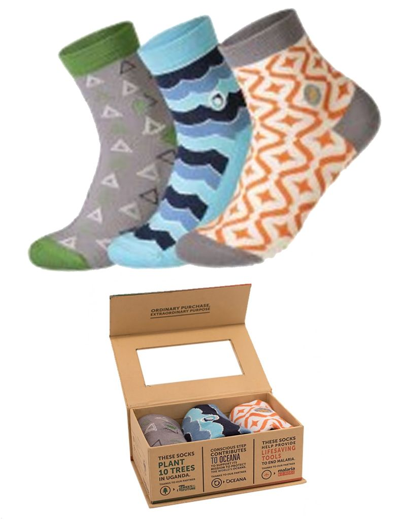 Conscious Step Women's Oceana, Malaria & Trees Sock Collection - Set of 3
